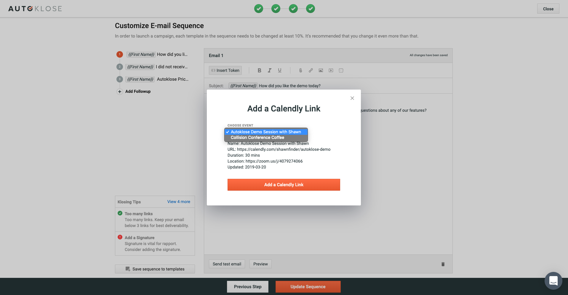 Calendly, Autoklose Email Sequence